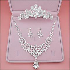 Kadın's Vidali Küpeler Kolye imitasyon Pırlanta minimalist tarzı Klasik alaşım Crown Shape Uyumluluk Düğün Parti Doğumgünü Nişan Düğün