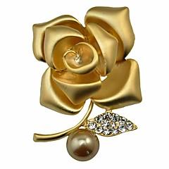 Dame Nåler Syntetisk Diamant Imitert Perle Blomster Mote Personalisert Klassisk Blomstret Imitert Perle Gull perle Legering Blomsterformet