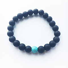 Black Matte Blue Turquoise Bracelet Agate Beads