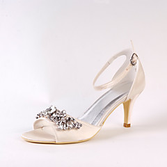 Women's Wedding Shoes Basic Pump Spring Summer Silk Wedding Party & Evening Dress Rhinestone Stiletto Heel Champagne 3in-3 3/4in