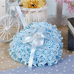 cheap Ring Pillows-Ribbon Tie Flower Silk Ring Pillow All Seasons