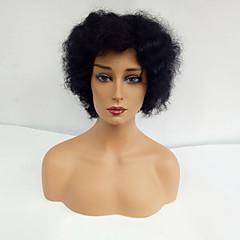 billige Lågløs-Human Hair Capless Parykker Menneskehår Afro Til sorte kvinder Kort Maskinproduceret Paryk Dame