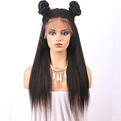 billiga Peruker och hårförlängning-Äkta hår Spetsfront Peruk Brasilianskt hår Rak Yaki Med babyhår 150% Densitet Naturlig hårlinje Lång Dam Äkta peruker med hätta