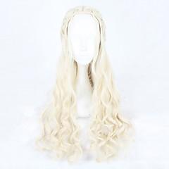billige Kostymeparykk-Syntetiske parykker / Kostymeparykker Bølget Syntetisk hår Blond Parykk Dame Lang Cosplay-parykk Lokkløs