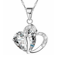 Women's Pendant Necklaces Heart Rhinestone Alloy Love Jewelry For Wedding Birthday