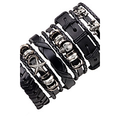 Men's Leather Bracelet Hip-Hop Multi-ways Wear Leather Alloy Star Skull / Skeleton Jewelry For Stage Club