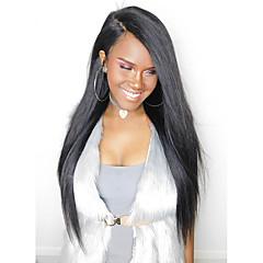 billiga Peruker och hårförlängning-Remy-hår Spetsfront Peruk Malaysiskt hår Rak 180% Densitet 100 % handbundet Lång Dam Äkta peruker med hätta