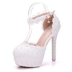 Ženske Cipele PU Proljeće Jesen Udobne cipele Inovativne cipele Vjenčanje Cipele Stiletto potpetica Okrugli Toe Aplikacija Biser Pletena