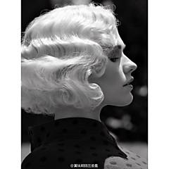 billiga Peruker och hårförlängning-Syntetiska peruker Vågigt Blond Syntetiskt hår Röd / Svart / Blond Peruk Dam Korta Monofilament / L-formad hätta / hälften Capless Röd / Utan lock