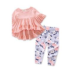 billige Tøjsæt til piger-Baby Pige Blomster / Pænt tøj Ensfarvet / Blomstret Trykt mønster Halvlange ærmer Bomuld Tøjsæt