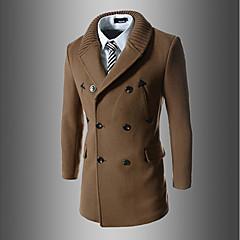 Herren Solide Einfach Aktiv Street Schick Ausgehen Lässig/Alltäglich Trench Coat,V-Ausschnitt Herbst Winter Lange Ärmel Lang Baumwolle