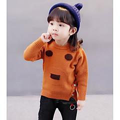 billige Sweaters og cardigans til piger-Pige Bluse Geometrisk, Bomuld Efterår Langærmet Orange Grå Gul