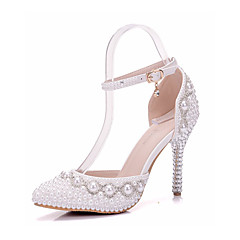 Women's Shoes PU Spring Fall Comfort Novelty Wedding Shoes Stiletto Heel Pointed Toe Crystal Applique Pearl For Wedding Party & Evening