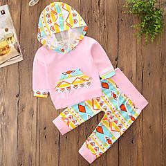 billige Tøjsæt til piger-Baby Pige Blomster / Pænt tøj Ensfarvet / Geometrisk Trykt mønster Langærmet Normal Normal Bomuld / Polyester Tøjsæt Lyserød