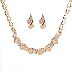 baratos Conjuntos de Bijuteria-Mulheres Geométrica Conjunto de jóias - Strass Caído Geométrico Incluir Brincos Curtos Colar Dourado / Prata Para Diário Encontro / Colares