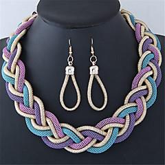 baratos Conjuntos de Bijuteria-Mulheres Conjunto de jóias - Caído Fashion Incluir Preto / Roxo / Vermelho Para Casual / Brincos / Colares