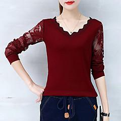 Damen Solide T-shirt, V-Ausschnitt Spitze Patchwork Baumwolle