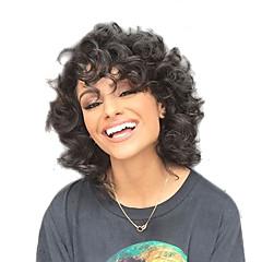 Χαμηλού Κόστους Χωρίς κάλυμμα-Συνθετικές Περούκες Σγουρά Συνθετικά μαλλιά Περούκα αφροαμερικανικό στυλ Μαύρο Περούκα Γυναικεία Μεσαίο Χωρίς κάλυμμα