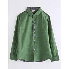 billige Overdele til drenge-Børn Drenge Ensfarvet Langærmet Bomuld Skjorte Army Grøn 140