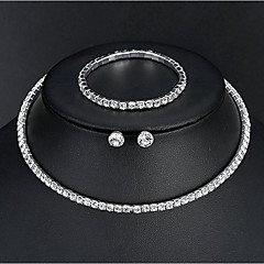 Women's Basic Elegant Wedding Daily Rhinestone Bracelet Necklace Earrings