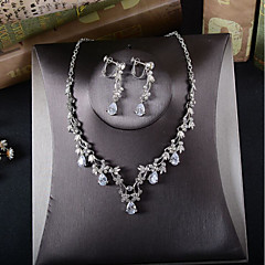 Women's Drop Earrings Necklace Cubic Zirconia Wedding Party Zircon Alloy Necklace Earrings