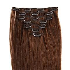 お買い得  人毛エクステンション-Clip In 人間の髪の拡張機能 7PCS /パック 70グラム/パック ナノヘアエクステンション チェスナットブラウン/ブリーチブロンド ミディアムブラウン /ストロベリーブロンド ミディアムブラウン/ブリーチブロンド ブラック/ブリーチブロンド