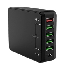 USB-laturi 6 Portit Työpöydän latausasema Quick Charge 3.0 -ohjelmistolla US-pistoke EU-pistoke UK-pistoke AU-pistoke Latausadapteri
