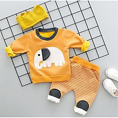 billige Tøjsæt til drenge-Drenge Tøjsæt Dyretryk, Bomuld Spandex Vinter Efterår Grå Gul