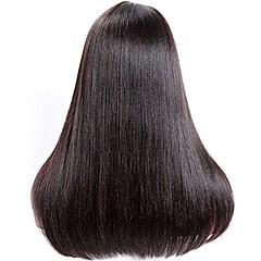 billiga Peruker och hårförlängning-Obehandlad hår Spetsfront Peruk Brasilianskt hår Yaki Rakt Yaki 130% 150% 180% Densitet obearbetade Till färgade kvinnor Naturlig hårlinje