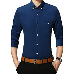 Langærmet Krave Medium Herrer Ensfarvet Kineseri Afslappet/Hverdag Plusstørrelser Skjorte,Bomuld Polyester