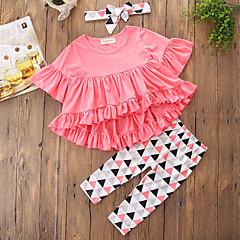 billige Tøjsæt til piger-Pige Tøjsæt Ensfarvet Geometrisk Geometrisk mønster, Bomuld Polyester Efterår Forår, Efterår, Vinter, Sommer Halvlange ærmer Sødt