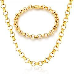 tanie Zestawy biżuterii-Męskie Pozłacane Biżuteria Ustaw Zawierać 1 Naszyjnik 1 Bransoletka - Modny Pozłacane Circle Shape Zestawy biżuterii Na Prezent Codzienny
