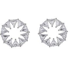 billige Fine smykker-Dame Blomst Kvadratisk Zirconium Zirkonium / Sølvbelagt Stangøreringe - Simple / Elegant / Mode Sølv Cirkelformet Øreringe Til Forlovelse