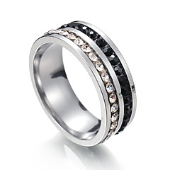cheap Men's Jewelry-Men's Cubic Zirconia Stainless Steel Band Ring - One-piece Suit Circle Metallic For Party Bikini