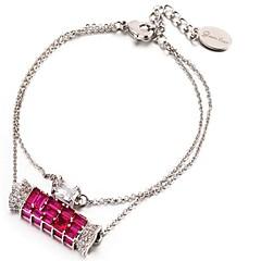 billige Fine smykker-Dame Kvadratisk Zirconium Zirkonium Sølvbelagt Smuk Wrap Armbånd - Simple Mode Slik Lys pink Armbånd Til Gave Stævnemøde