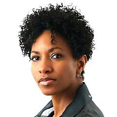 billiga Peruker och hårförlängning-Syntetiska snörning framifrån Afro Kinky Syntetiskt hår Afro-amerikansk peruk Svart Peruk Dam Korta Naturlig peruk / Celebrity Wig
