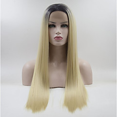 tanie Peruki syntetyczne-Syntetyczne koronkowe peruki Biały Damskie Koronkowy przód Peruka naturalna Medium Długo Włosy syntetyczne