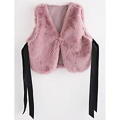tanie Odzież dla dziewczynek-Kamizelka Sztuczne futro Dla dziewczynek Jendolity kolor Blushing Pink