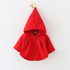 billige Jakker og frakker til piger-Baby Pige Tegneserie Ensfarvet Langærmet Normal Bomuld Bluse Rød 130 / Sødt