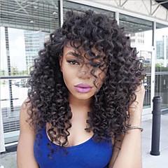 billiga Peruker och hårförlängning-Äkta hår Hel-spets Peruk Brasilianskt hår Kinky Curly Bob-frisyr / Frisyr i lager / Med babyhår 150% Densitet Naturlig hårlinje / 100% Jungfru / obearbetade Dam Mellan Äkta peruker med hätta