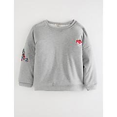 billige Hættetrøjer og sweatshirts til piger-Pige T-shirt Tegneserie, Bomuld Efterår Tegneserie Rød Lyserød Grå