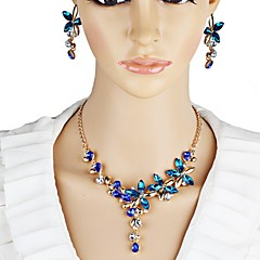 baratos Conjuntos de Bijuteria-Mulheres Cristal Conjunto de jóias - Cristal Flor Elegante Incluir Azul Escuro Para Festa / Palco / Brincos / Colares