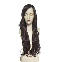 cheap Wigs & Hair Pieces-Synthetic Lace Front Wig Women's Wavy Black Layered Haircut Synthetic Hair Natural Hairline Black Wig Long Capless Black / Dark Wine