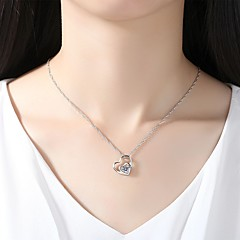 cheap Necklaces-Women's Cubic Zirconia Rhinestone Cubic Zirconia Silver Pendant Necklace - Simple Elegant Silver Necklace For Wedding Evening Party