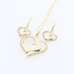 baratos Conjuntos de Bijuteria-Mulheres Conjunto de jóias - Cristal Coração Doce, Elegante Incluir Dourado Para Diário Casual