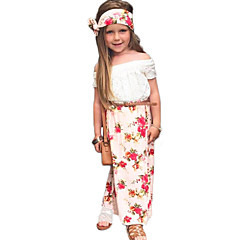 baratos Roupas de Meninas-Para Meninas Conjunto Floral Todas as Estações Algodão Acrílico Elastano Manga Curta Simples Fofo Activo Branco