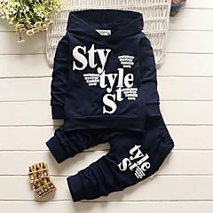 Jungen Kleidungs Set Buchstabe Baumwolle Acryl Ganzjährig Langärmelige Einfach Niedlich Aktiv Marineblau Grau