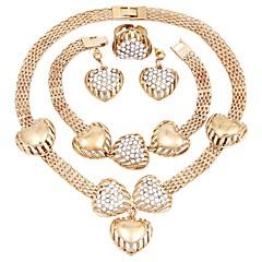 baratos Conjuntos de Bijuteria-Mulheres Conjunto de jóias - Imitações de Diamante Coração Clássico, Fashion Incluir Brincos Compridos Gargantilhas Dourado Para Festa Cerimônia