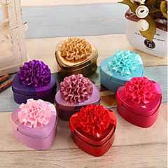 cheap Favor Holders-Heart Metalic Silk Favor Holder with Ribbons Floral Print Favor Boxes - 12pcs