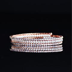 お買い得  ブレスレット-女性用 真珠 テニスブレスレット  -  キュービックジルコニア, ローズゴールドめっき ブレスレット ローズゴールド 用途 結婚式 / パーティー